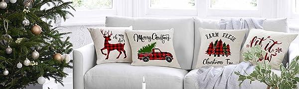 Christmas Throw Pillow Covers 18x18 Set of 4
