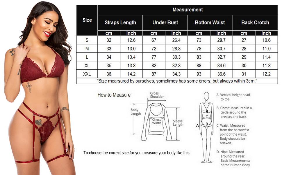 ADOME Women Lingerie Set with Garter Belts Bralette Bra and Panty Set Strap Babydoll Bodysuit