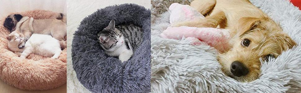Niche de chat Niche à chien Sac de Couchage panier de lit pour chien panier en peluche à lit