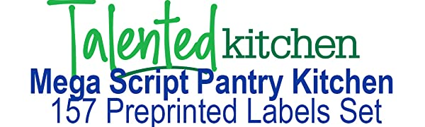 TALENTED KITCHEN PANTRY FOOD LABEL SET, Mega script pantry set
