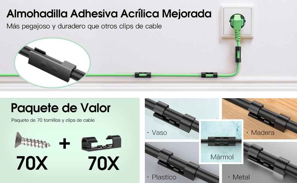 70X Grapas de Pared para Cable, AGPTEK Organizador de Cables Clips de Cables con Tornillos y Adhesivo para Cables Electricos de USB, TV, Cargador, ...