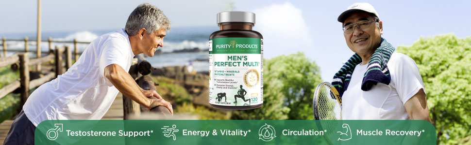 Mens men's perfect multi multivitamin for testosterone stamina vitamin b c d3 d purity products