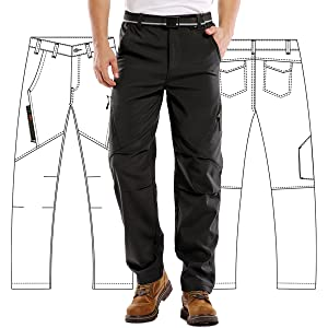 Mens Waterproof Hiking Pants, Outdoor Snow Ski Fishing Fleece Lined Insulated Soft Shell Winter