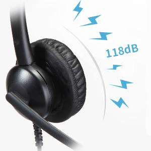 Beebang Casque t/él/éphonique Filaire Casque RJ9 /à Double Oreille avec Microphone R/éduction du Bruit Uniquement pour Les t/él/éphones IP Cisco