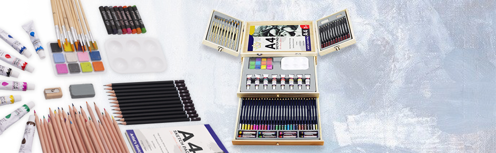 Artworx Kit de coloraci/ón para ni/ños rotuladores para ni/ños pinturas Estudio de arte de 70 piezas con estuche de aluminio p/úrpura l/ápices de colores