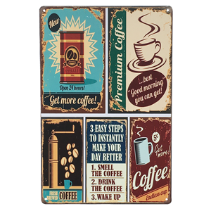 UNIQUELOVER Funny Coffee Signs, Coffee Menu Know Your Coffee Vintage Retro Metal Coffee Signs Home Decor 12 X 8 Inches
