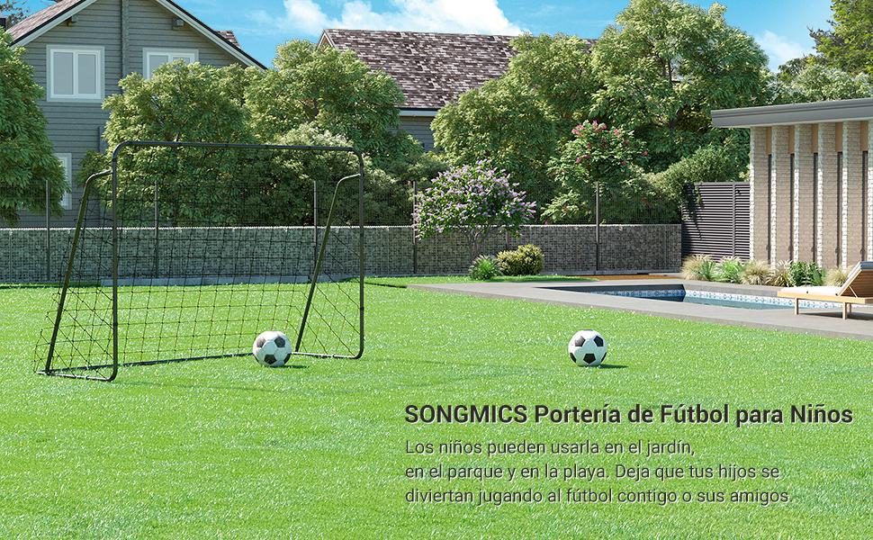 SONGMICS Portería de Fútbol para Niños, Red de fútbol, Montaje Rápido, para Jardín, Patio, Parque, Playa, Tubos de Hierro, Red de PE, Negro SZQ215BK: Amazon.es: Deportes y aire libre