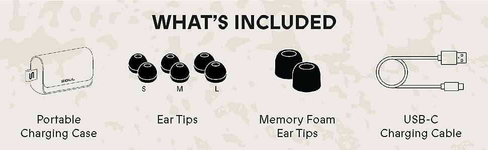 portable, charging case, USB-C, charging cable, ear tip, memory foam, ergonomic, fit, headphones