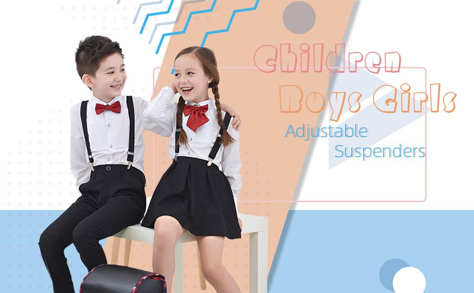 Children Boys Suspenders Bowtie Necktie Wine red, 8 Years - 5 Feet Tall 31.5-33.5 Inch Adjustable Elastic Y shape Strong Clips Suspenders Set for Boys and Girls