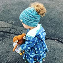 kids ponytail beanie messy bun hat for girls toddler