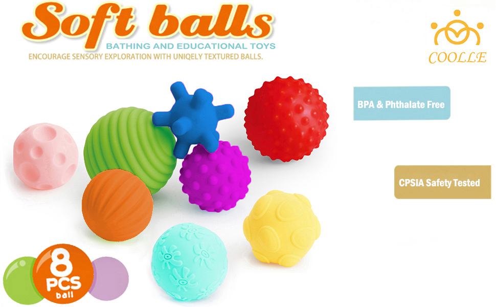 Textured Multi Ball Set Sensory Ball Set Baby Tactile Balls for Babies Kids Toddlers Ages 6M+ with Bright Colors /& Squeaks Set of 8 Pack Coolle- Baby Toy Texture Balls