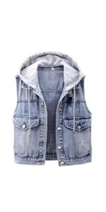 women denim vest with hoodie