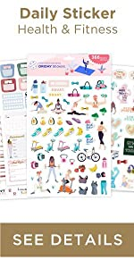 Oriday fitness planner stickers 6 sheets goal setting vision planing tool