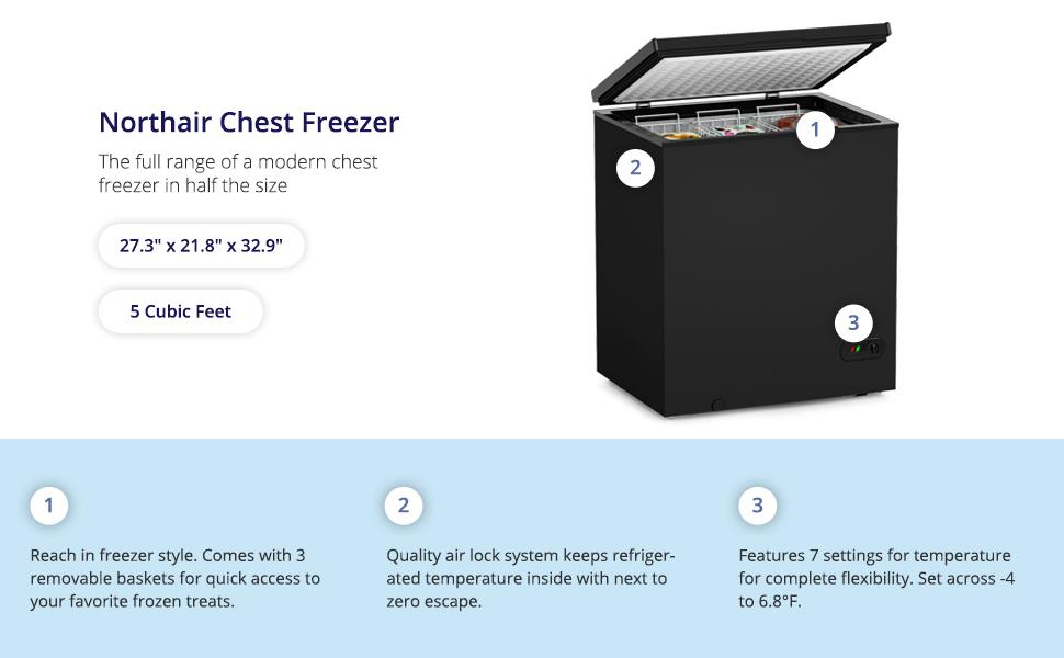 northair 5 cu ft black chest compact freezer