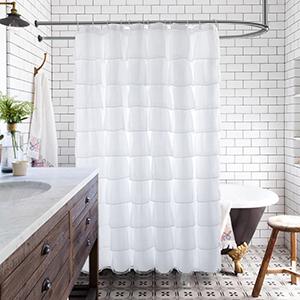 Liveinu Cortina de ducha de tela con volantes para ba/ño estilo blanco 3 70 x 70 pulgadas vertical casa de campo con volantes estilo Shabby Chic transparente estilo r/ústico