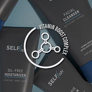 SELFISH skin care men mans cleanser exfoliator moisturizer shaving cream eye dark circles anti aging