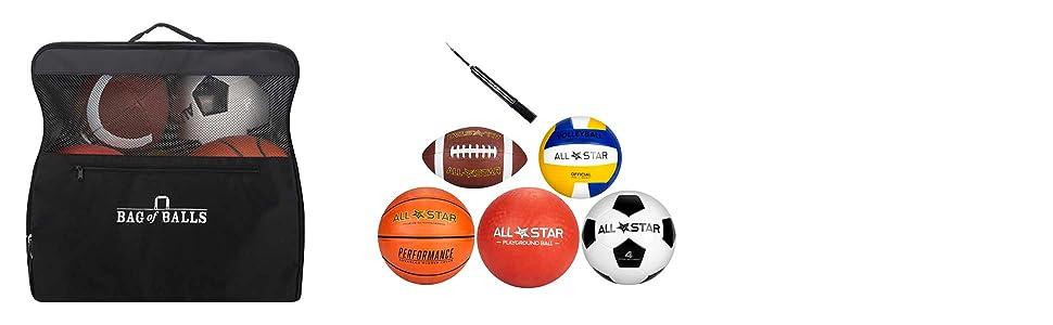 bag of balls soccerball dodgeball basketball football volleyball ball upmp