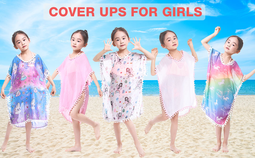 Unicorn Cover Up for Girls Rainbow White Terry Cover Ups Beach Dress