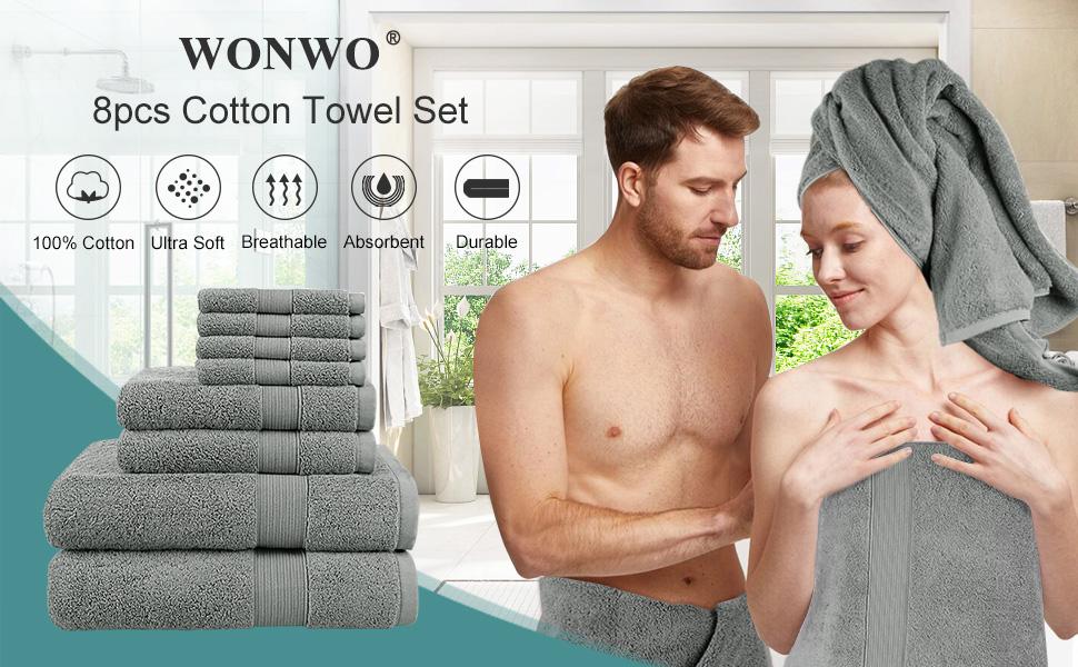 8pcs cotton towel set