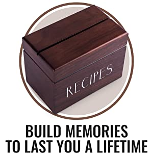 Recipe Box with Cards and Dividers by Apace - Vintage Style Wood 4x6 Recipe Holder Card Box