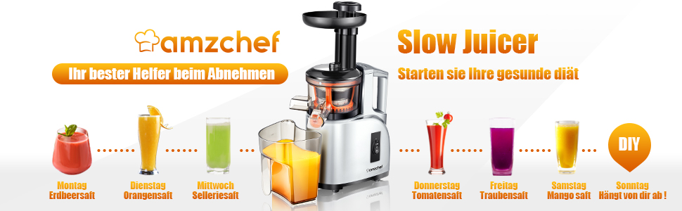 Entsafter Slow Juicer AMZCHEF Slow Entsafter Gemüse und Obst