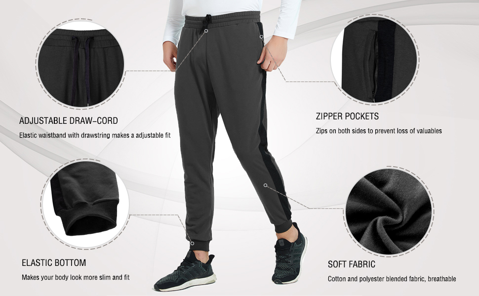 Casual Slim Fit Sweatpants for Jogging Sport Running MEETWEE Men/'s Athletic Workout Pants