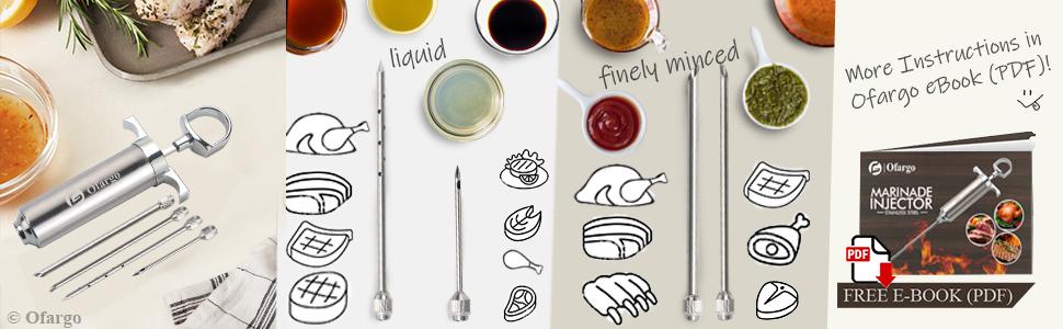 Three needles for liquid fluid chunky sauces for beef pork turkey fish and fruit jam ice cream