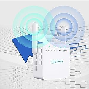 NETVIP WiFi Repetidor de Red WiFi Amplificador 300Mbps Extensor WiFi Booster de Rango Inalámbrico Modo Wireless-N 2.4GHz Universal Dos Antenas, Fácil ...