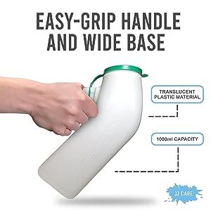 Spill Proof Urine Bottle for Men Pee Holder Portable Hospital Incontinence Elderly Travel Emergency