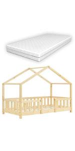 Lit cabane Treviolo lit d'enfant forme maison pin bois naturel 80x160cm matelas mousse à froid