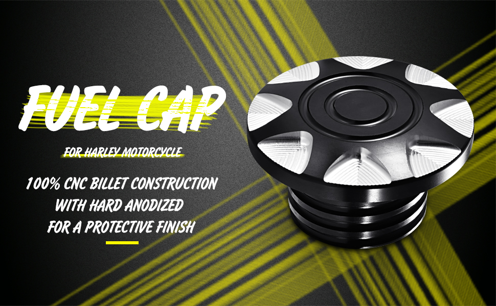 KaTur Black Chrome Motorcycle CNC Aluminum Fuel Gas Oil Tank Rough Crafts Decorative Oil Cover Gas Cap for Harley Sportster XL1200 883 1996-2014
