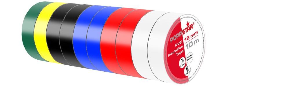 Poppstar 10x 10m Universal Isolierband Band 18mm breit bunt Dichtungsband zur Isolation - Reparatur von elektrischen Leitern PVC Dichtband und Klebeband