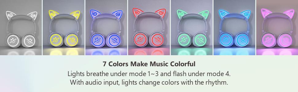 Cat Ear Headphones wiht 7 Colors Led Light