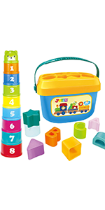 Baby Nesting Stack Cups Stack-Up Blocks Cubes Alphabet and Numbers Color Shape