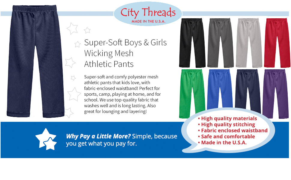 City Threads Cotton Athletic Pants for Boys Sports Camp Play and School Made in USA