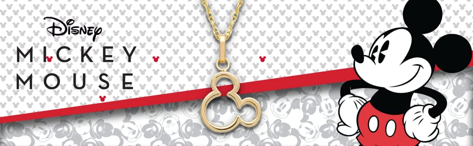 disney 14K Yellow Gold Pendant in silhouette of Mickey Mouse