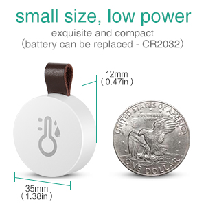 smaller than others measuring 1.3 x 1.3 x 0.47-inches, and built in CR2032 battery