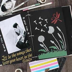 VEESUN Album Photo Scrapbooking Linge de Traditionnel Livre Photo Papier Noir DIY Memory Book Cadeau Saint Valentin danniversaire de Mariage pour Fille Elle Lui Femmes Hommes Maman Amis Flamingo