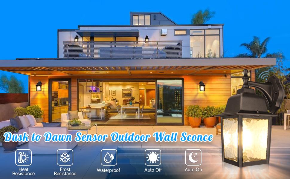 RT42469 mural jardin lumière avec Dusk to Dawn Capteur Pro Elec PEL00838