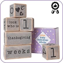 Non-toxic baby milestone blocks.