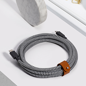 Native Union Type C Lightning Extra Long 10 foot Strength Strong Leather Belt Zebra Fast Charge