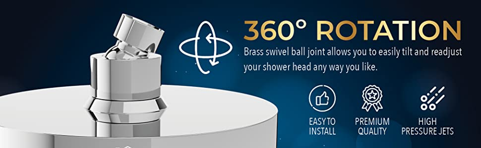 360 degree three hundred and sixty degree rotation shower head strong powerful stream