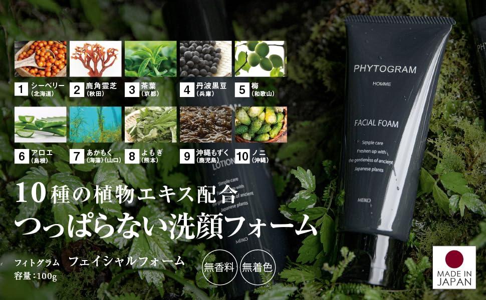 10種の植物エキス配合 ベタつかないメンズ 洗顔フォーム フィトグラム フェイシャルフォーム