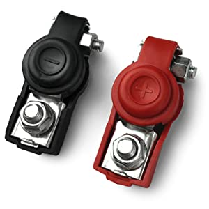 Red Black Pair MGI SpeedWare Mini 50A Battery Clamps With Insulated Handles