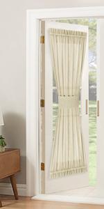beige sheer door curtain