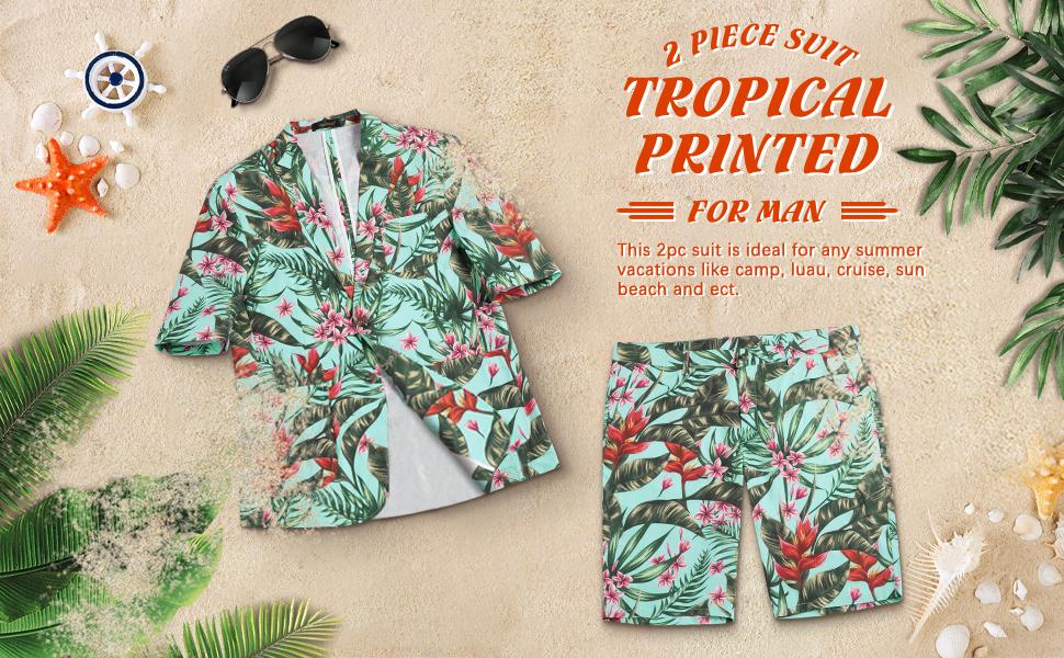 Men's 2 Piece Short Sleeve Suit Hawaiian Tropical Beach Party Blazer & Pants