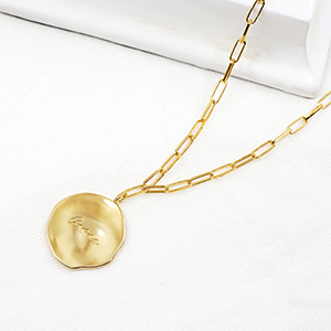 J.RAHEL Yellow Gold Plated Irregular Wrinkly Round Disc Engraved Pendant Link Chain Necklace for Women