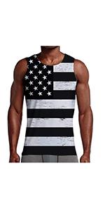 B07Q44YC7X Mens 3D Print Tank Tops American Flag