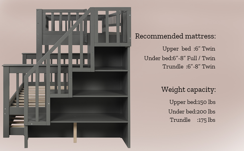 wood twin over twin bunk bed with TRUNDLE bed for kids twin bunk bed frame for kids