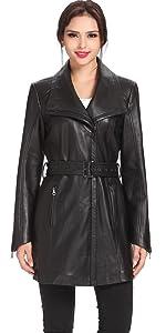 BGSD Women's Fiona New Zealand Lambskin Leather Trench Coat